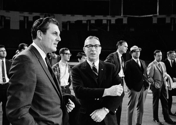 <div class='meta'><div class='origin-logo' data-origin='none'></div><span class='caption-text' data-credit='AP Photo/ Ed Kolenovsky'>University of Houston head basketball coach Guy Lewis, left, and UCLA head coach John Wooden, right, have a friendly chat at the beginning of the UCLA practice, Jan. 19, 1968.</span></div>