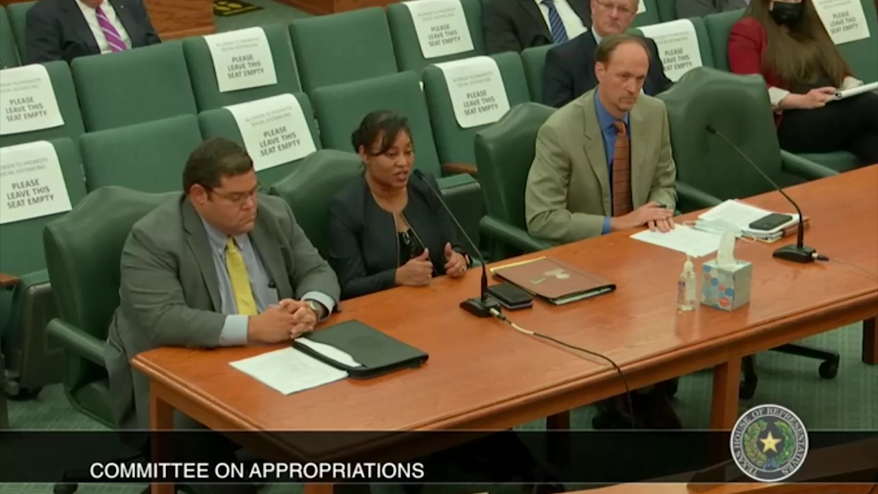 Texas Department of Family and Protective Services Commissioner Jaime Masters speaks at a House Appropriations committee meeting on August  23, 2021.