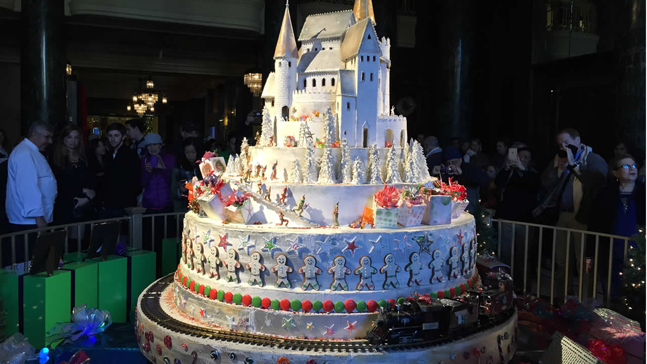 The 12-foot tall sugar castle at the Westin St. Francis in San Francisco is seen on Wednesday, November 26, 2015.
