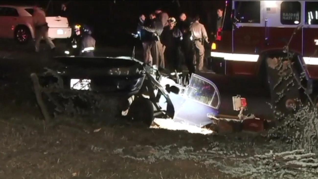 Fatal accident scene near I-580 in Oakland, Friday, November 27, 2015.