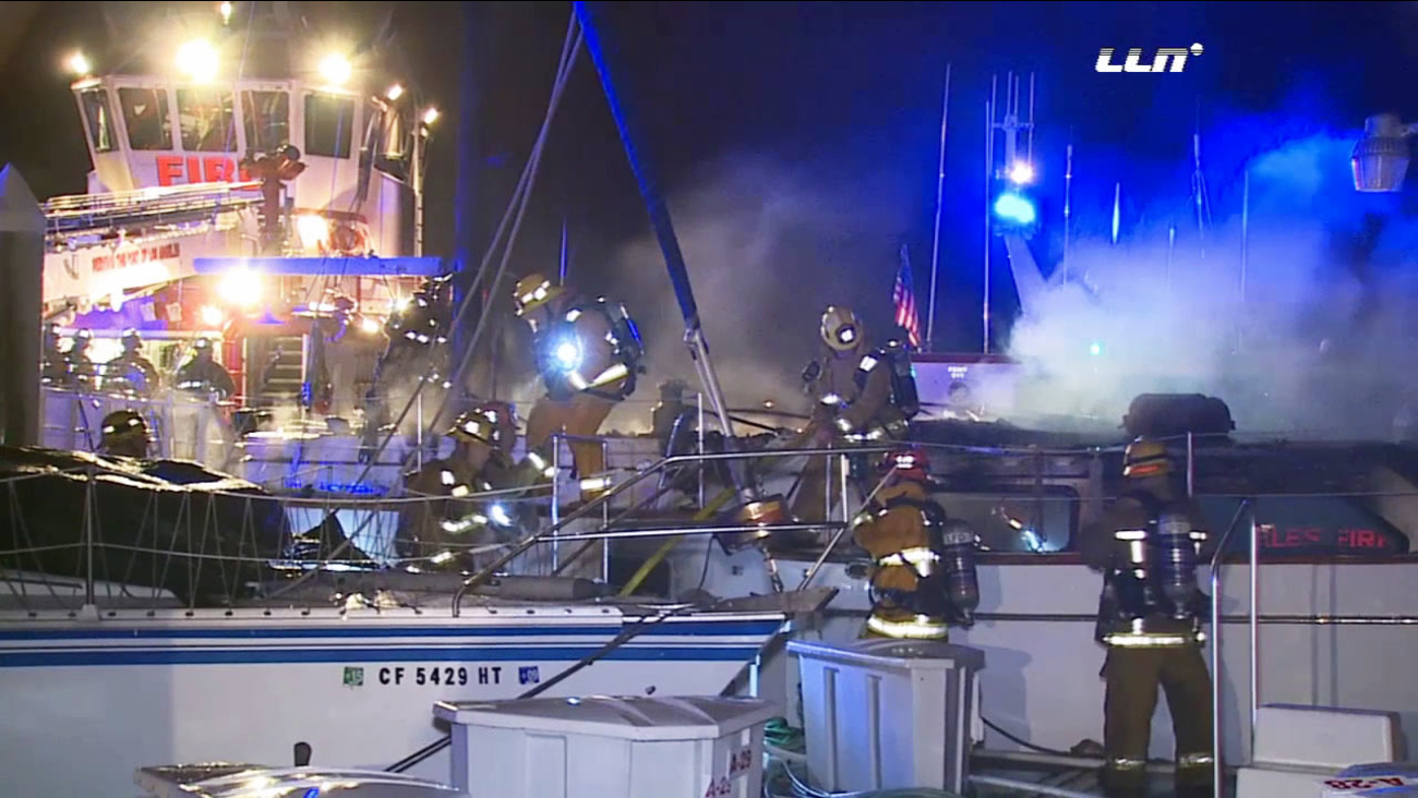 A 45-foot sailboat caught fire in San Pedro harbor on Friday, Nov. 27, 2015.