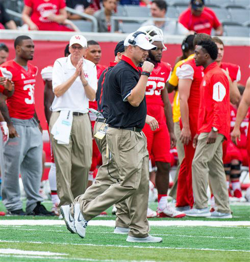 "<div class=""meta image-caption""><div class=""origin-logo origin-image none""><span>none</span></div><span class=""caption-text"">Houston's head coach Tom Herman reacts after a Houston touchdown during the first quarter (AP Photo/ Juan DeLeon)</span></div>"