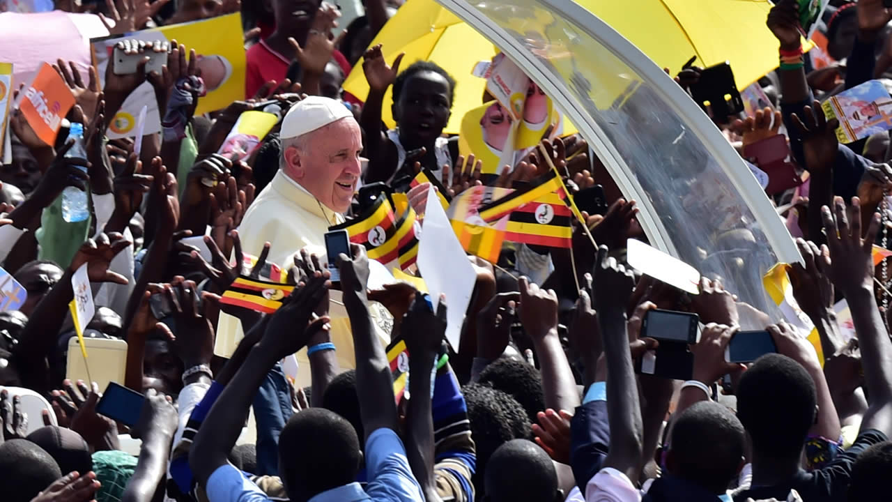 Pope Francis meets with young people at the Kololo airstrip in Kampala, Uganda, Saturday, Nov. 28, 2015, part of a six-day visit to Kenya, Uganda and the Central African Republic.
