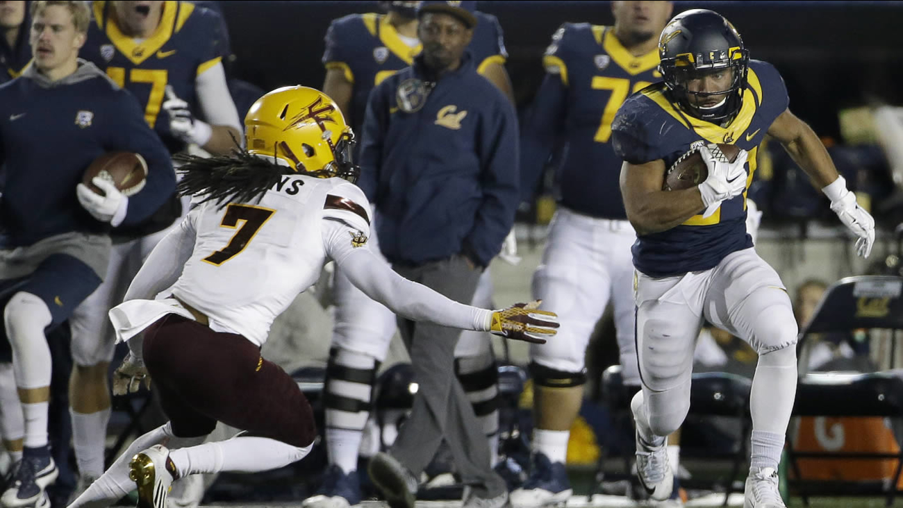 California running back Khalfani Muhammad, right, runs against Arizona State defensive back Solomon Means (7) to score on a touchdown in a game in Berkeley, Calif., on Saturday, Nov. 28, 2015.