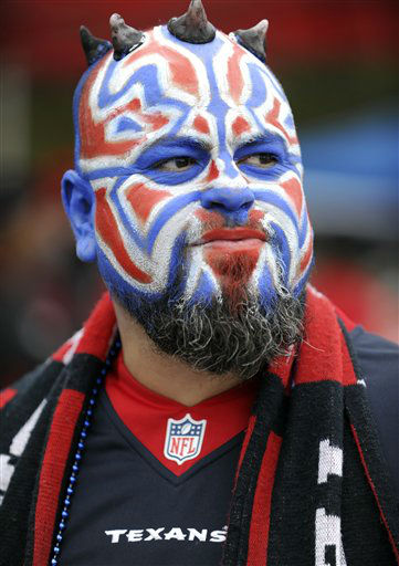 "<div class=""meta image-caption""><div class=""origin-logo origin-image none""><span>none</span></div><span class=""caption-text"">A Houston Texans fan wears face paint before an NFL football game against the New Orleans Saints (AP Photo/ Eric Christian Smith)</span></div>"