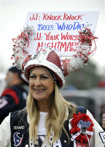 "<div class=""meta image-caption""><div class=""origin-logo origin-image none""><span>none</span></div><span class=""caption-text"">A Houston Texans fan wears a sign outside NRG Stadium before the game. (AP Photo/ Eric Christian Smith)</span></div>"