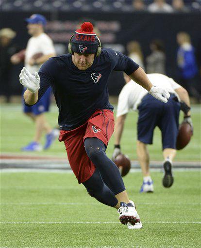 "<div class=""meta image-caption""><div class=""origin-logo origin-image none""><span>none</span></div><span class=""caption-text"">Houston Texans defensive end J.J. Watt warms up before an the game. (AP Photo/ George Bridges)</span></div>"