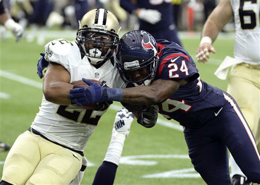 "<div class=""meta image-caption""><div class=""origin-logo origin-image none""><span>none</span></div><span class=""caption-text"">New Orleans Saints running back Mark Ingram (22) is tackled by Houston Texans cornerback Johnathan Joseph (AP Photo/ George Bridges)</span></div>"