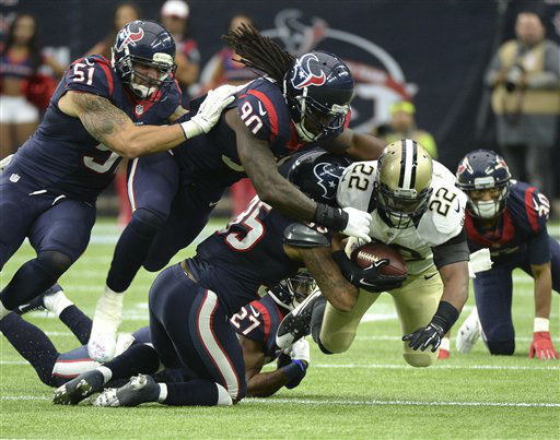 "<div class=""meta image-caption""><div class=""origin-logo origin-image none""><span>none</span></div><span class=""caption-text"">New Orleans Saints running back Mark Ingram (22) is tackled by a host of Texans. (AP Photo/ George Bridges)</span></div>"