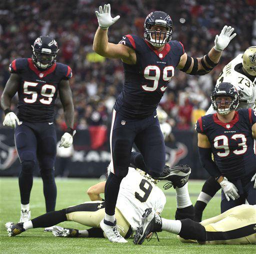 """<div class=""""meta image-caption""""><div class=""""origin-logo origin-image none""""><span>none</span></div><span class=""""caption-text"""">Houston Texans defensive end J.J. Watt (99) leaps after sacking New Orleans Saints quarterback Drew Brees (9) (AP Photo/ Eric Christian Smith)</span></div>"""