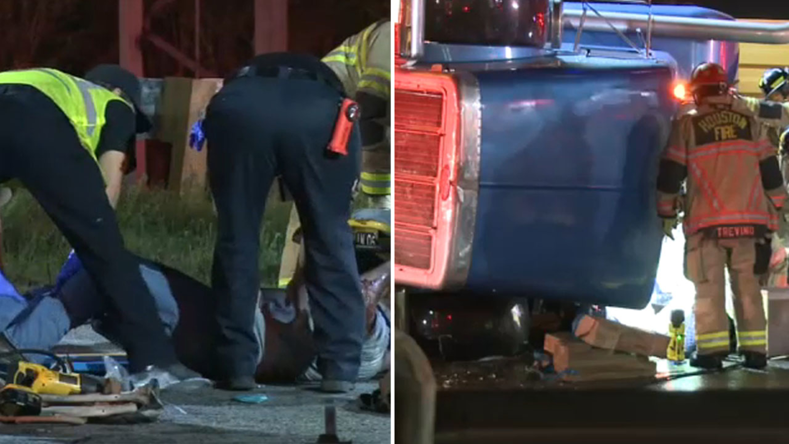 Driver rescued from overturned big rig on 610 North Loop WB at I-45 near the Heights