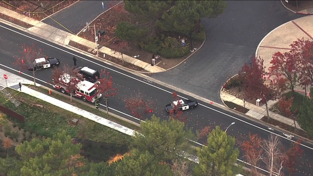 Police have cordoned off parts of Porter Drive in Palo Alto, Calif. and issued a shelter-in-place after a possible grenade was found Nov. 30, 2015.