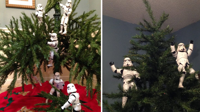 star wars stormtrooper toys set up christmas tree in fun viral photos abc13com