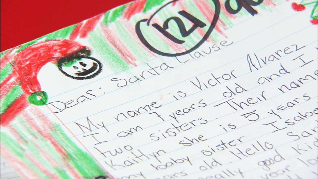 A letter by a 7-year-old boy who sent it to Santa Claus through the U.S. Postal Service's Operation Santa program.