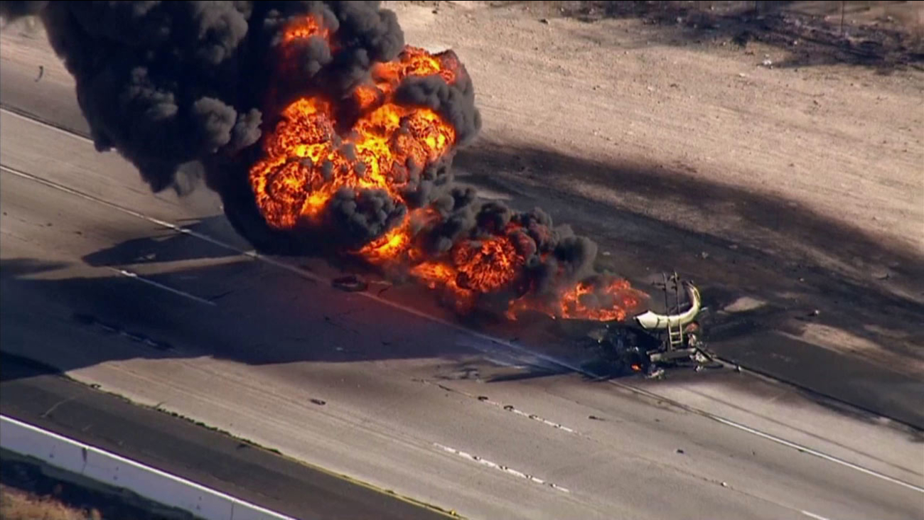 A fuel tanker caught fire on the southbound 15 Freeway in Lake Elsinore on Tuesday, Dec. 1, 2015.
