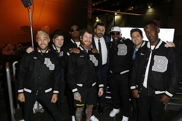 <div class='meta'><div class='origin-logo' data-origin='none'></div><span class='caption-text' data-credit='ABC/Randy Holmes'>Boyz II Men and Fall Out Boy known as Fall Out Boyz II Men sing 'Motownphilly' on Jimmy Kimmel Live.</span></div>