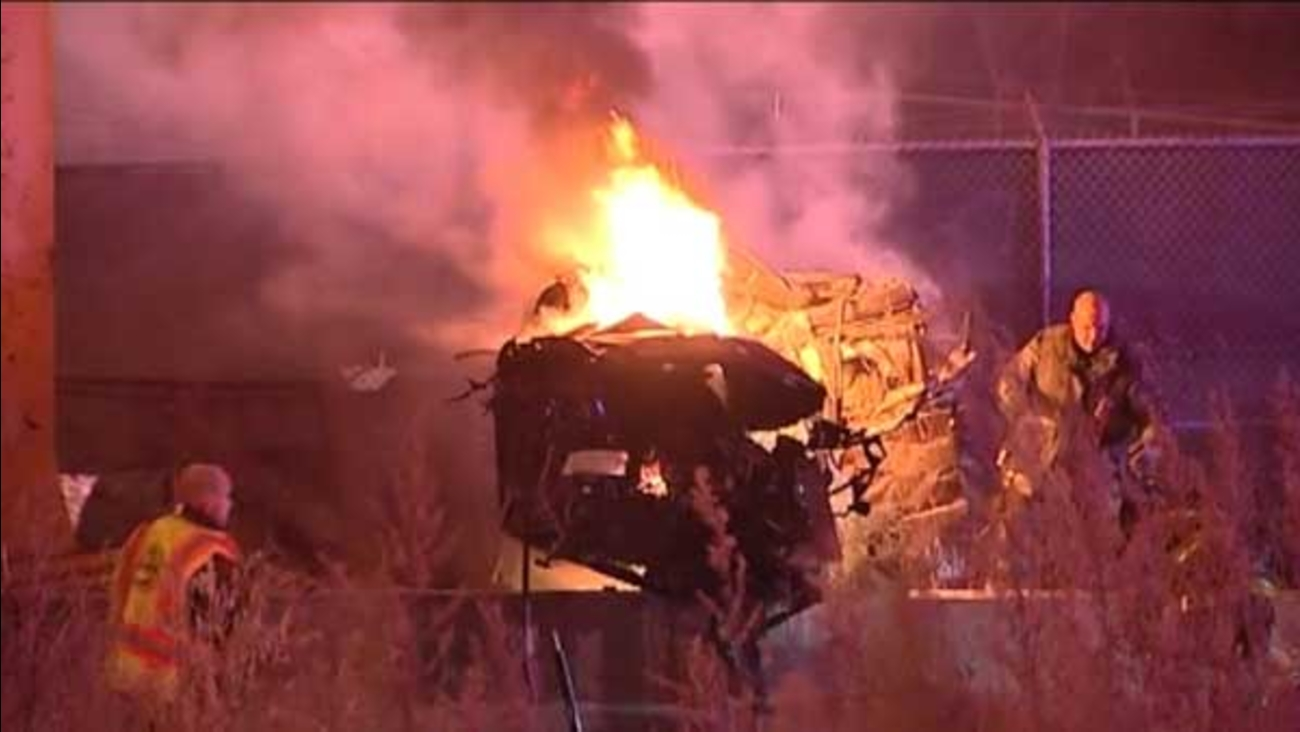 Two men were killed in a fiery single-vehicle crash on the Chinatown feeder ramp from the inbound Dan Ryan Expressway on Chicago's South Side.