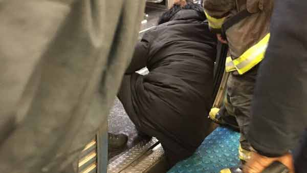 cta rider foot stuck