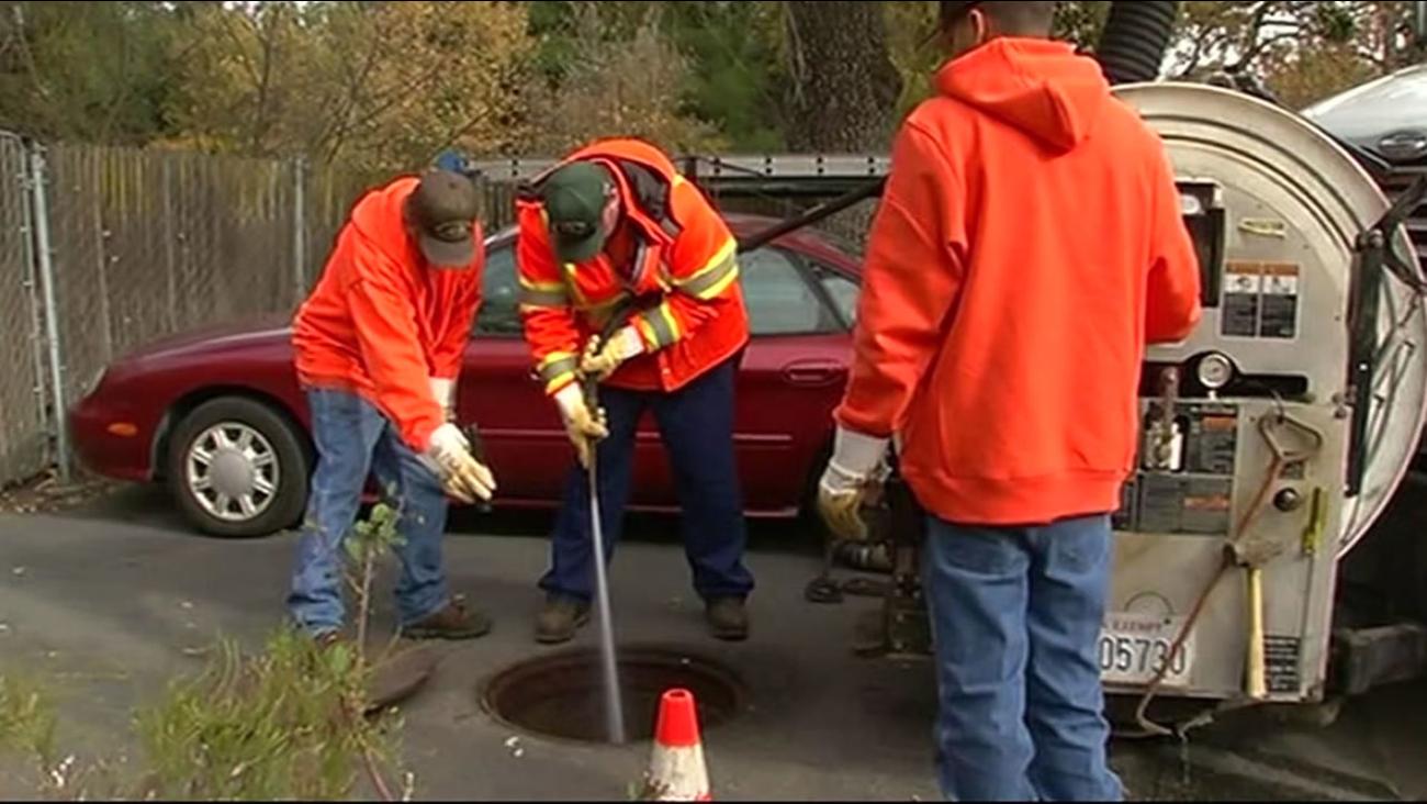 Maintenance crews in Walnut Creek prepare pipes ahead of a wet winter on Wednesday, December 2, 2015.