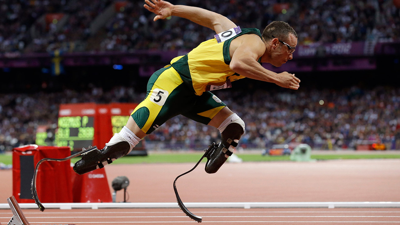 In this Sunday, Aug. 5, 2014 photo, South Africa's Oscar Pistorius starts in the men's 400-meter semifinal during the athletics in the Olympic Stadium at the 2012 Summer Olympics.
