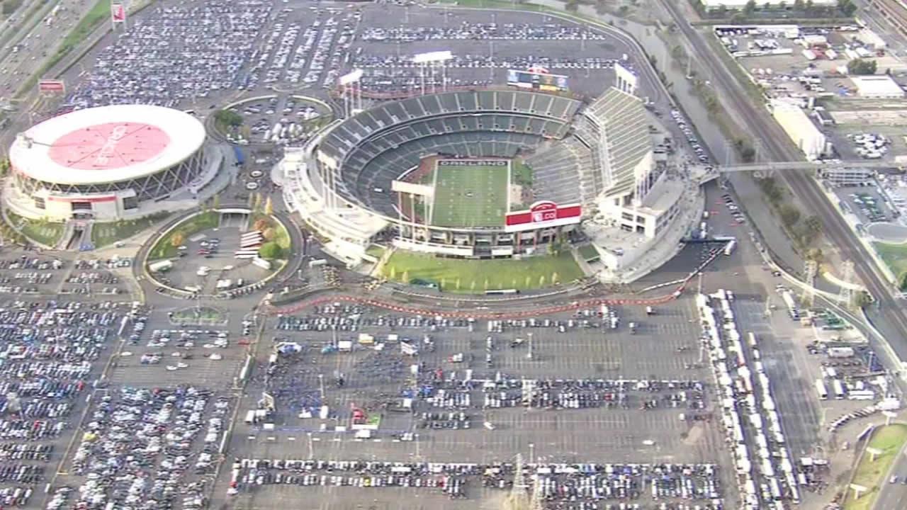 The Oakland Coliseum and O.co stadium.