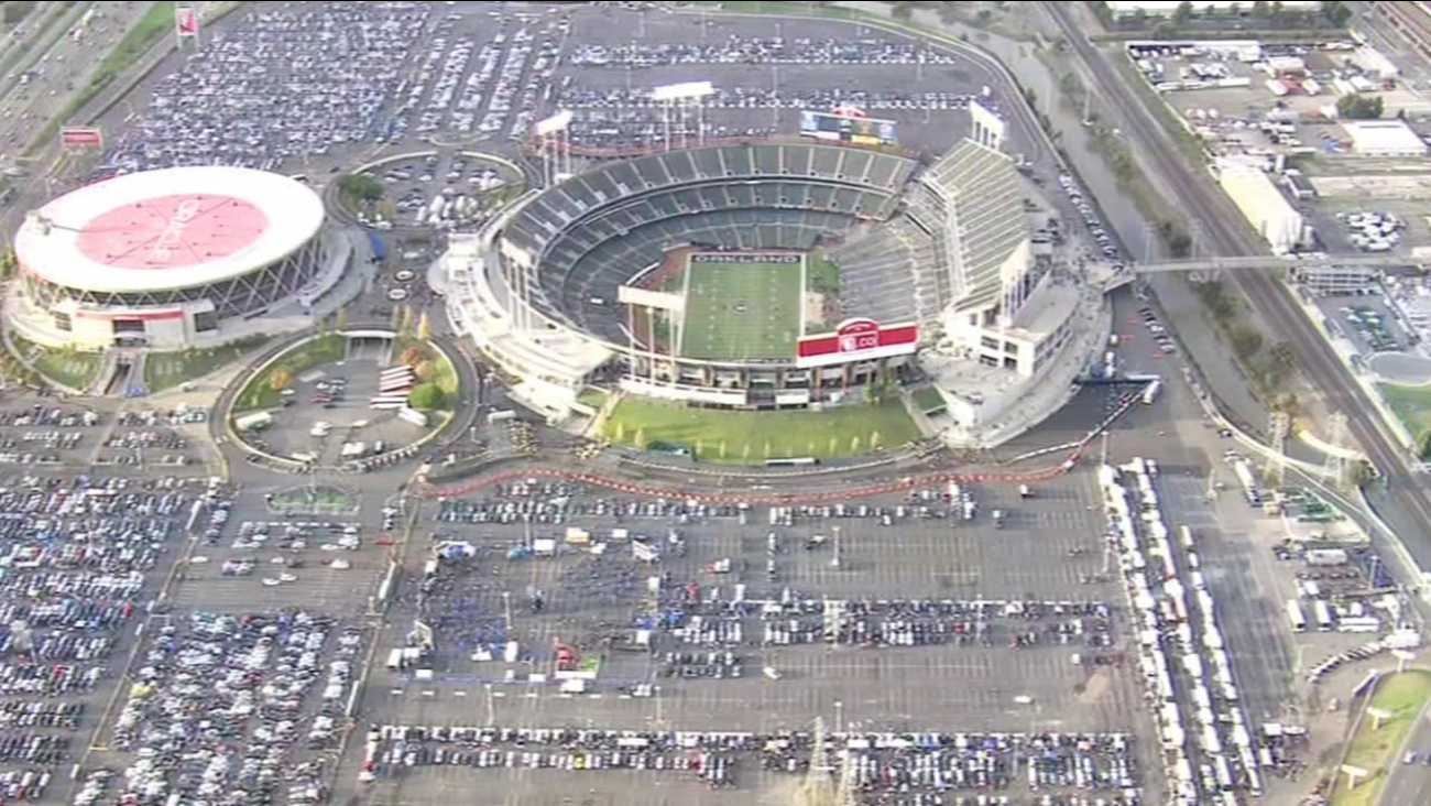 The Oakland Coliseum and O.co stadium.