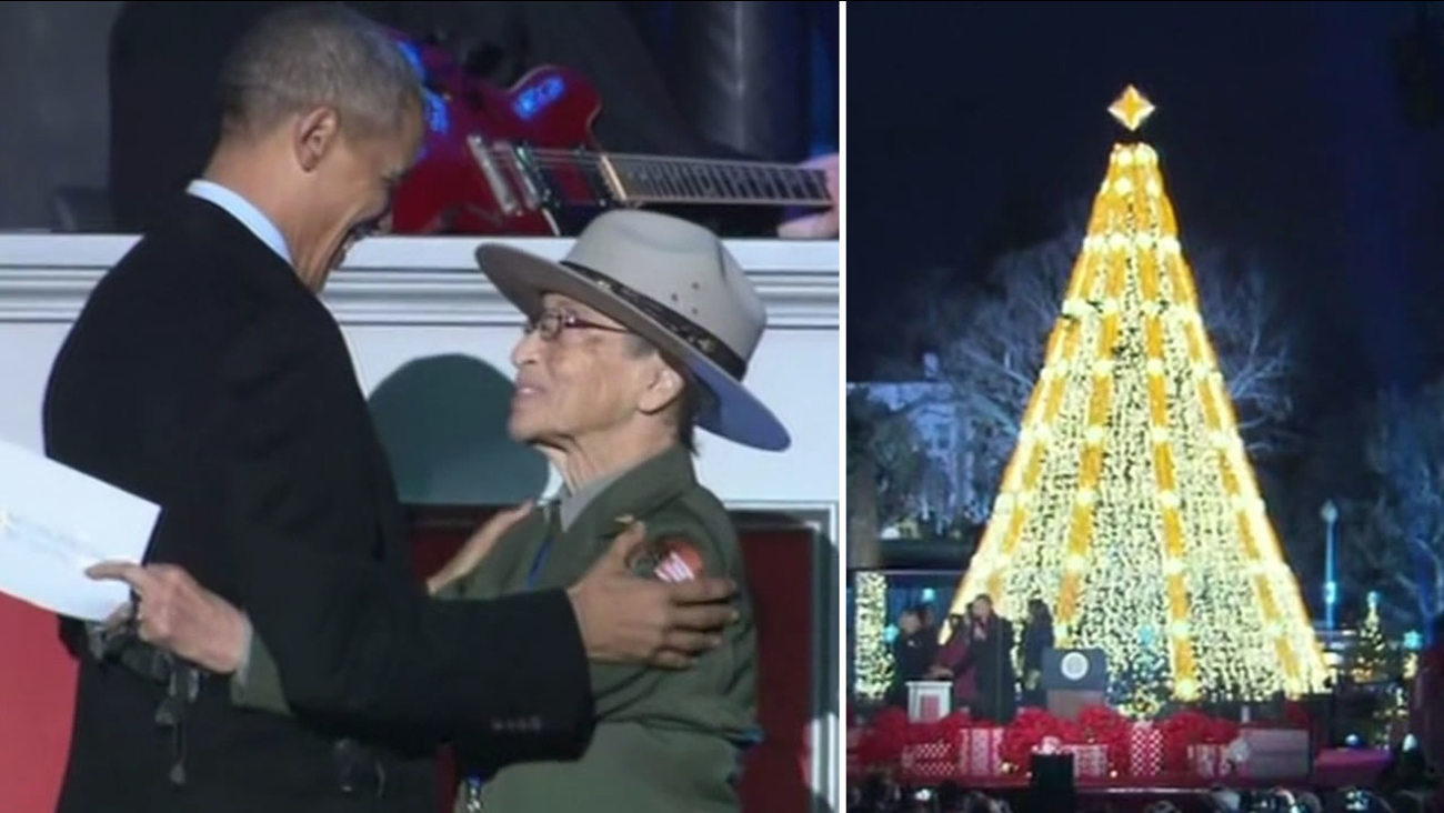 The nation's oldest park ranger Betty Soskin, 94, introduced President Obama at the National Christmas Treet lighting in Washington D.C. December 3, 2015.