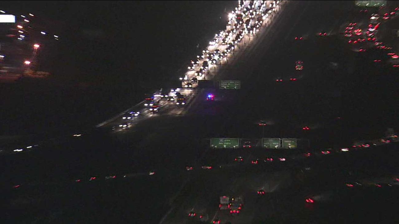 All lanes of the northbound 110 Freeway were temporarily closed between the 91 Freeway and W. Redondo Beach Boulevard in Gardena on Friday, Dec. 4, 2015.