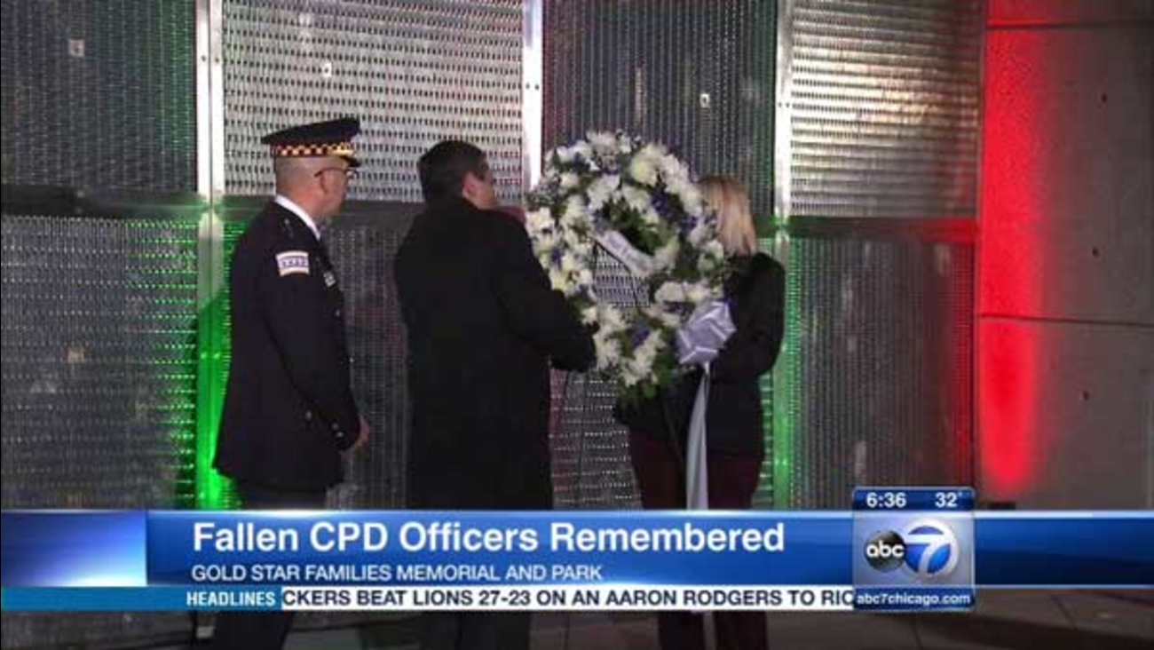 The Chicago Police Memorial Foundation and its supporters held a special lighting and wreath-laying ceremony Thursday night at Gold Star Families Memorial and Park.