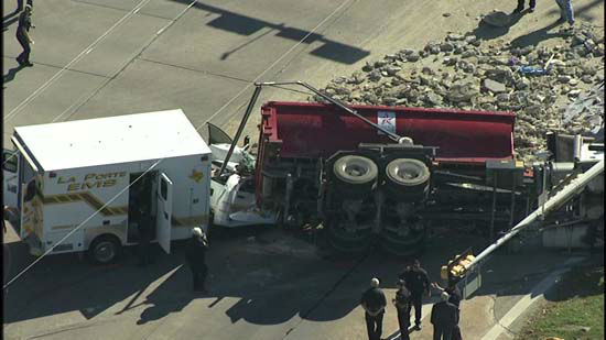 <div class='meta'><div class='origin-logo' data-origin='none'></div><span class='caption-text' data-credit='KTRK Photo/ KTRK'>Four people were hurt in an accident in which an ambulance and dump truck crashed in Pasadena.</span></div>
