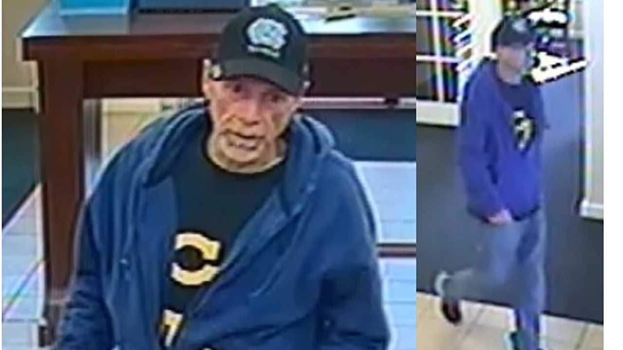 Surveillance photos of bank robbery suspect