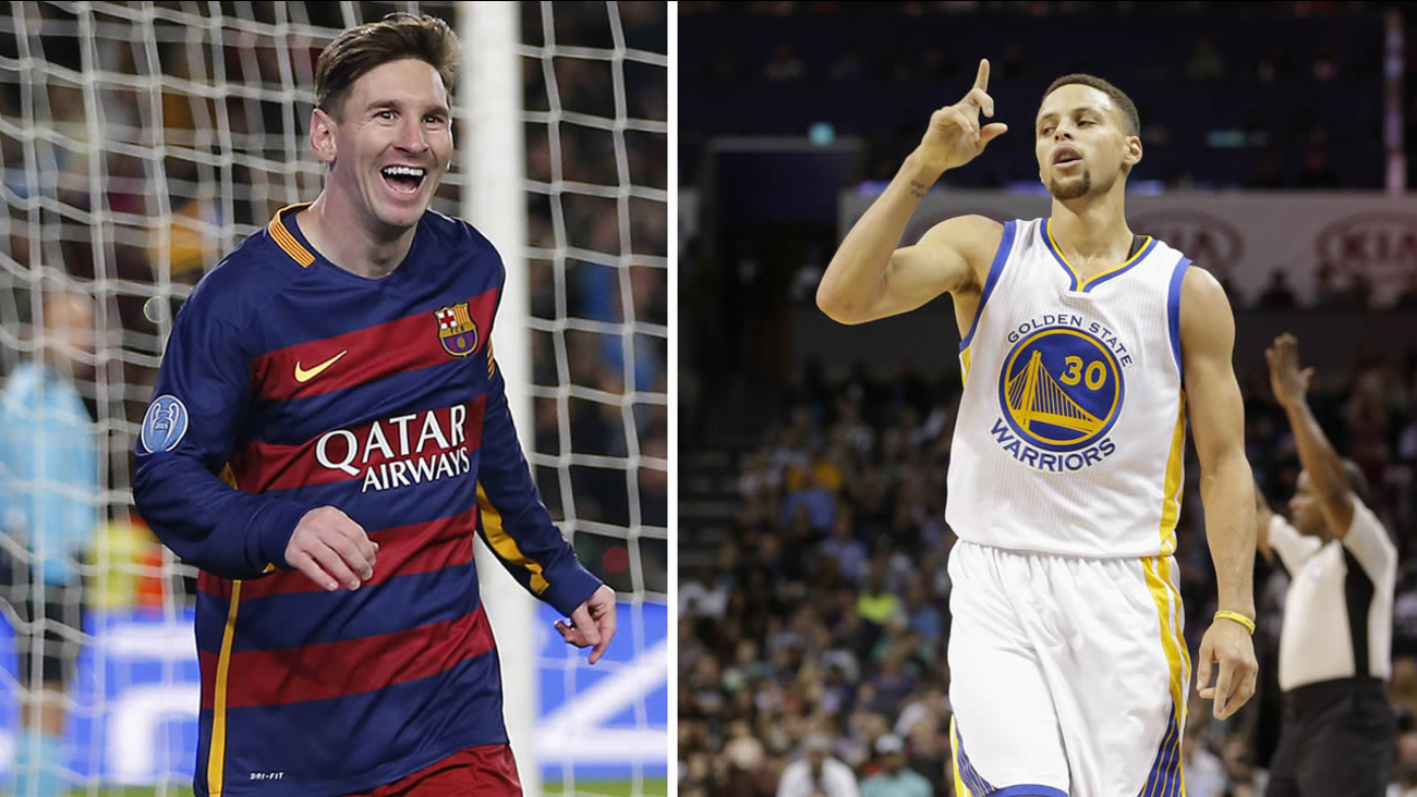 Barcelona's Lionel Messi, left, and Golden State Warriors guard Stephen Curry, right.