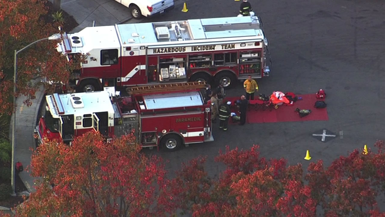 Fremont firefighters are on the scene of a hazmat situation at Osgood Road and Skyway Court in Fremont Calif. December 4, 2015.