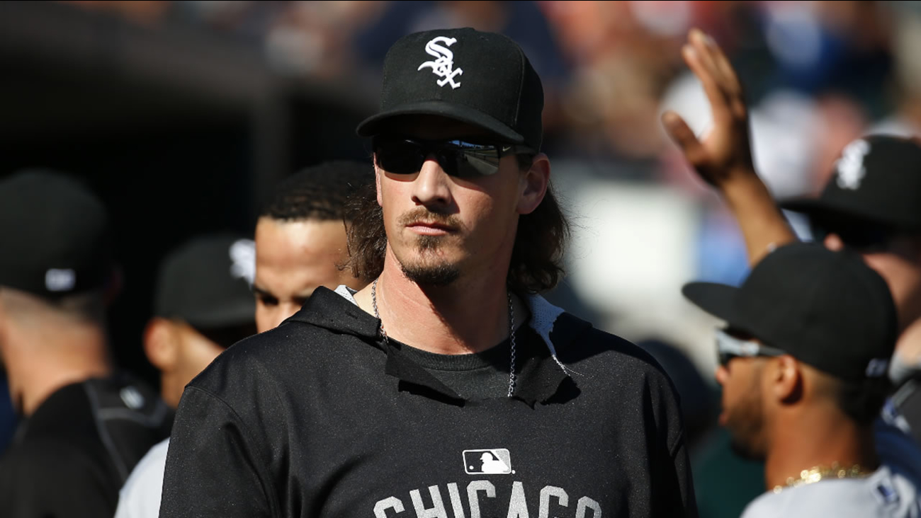 Chicago White Sox pitcher Jeff Samardzija watches from the dugout against the Detroit Tigers in the eighth inning of a baseball game in Detroit Wednesday, Sept. 23, 2015.