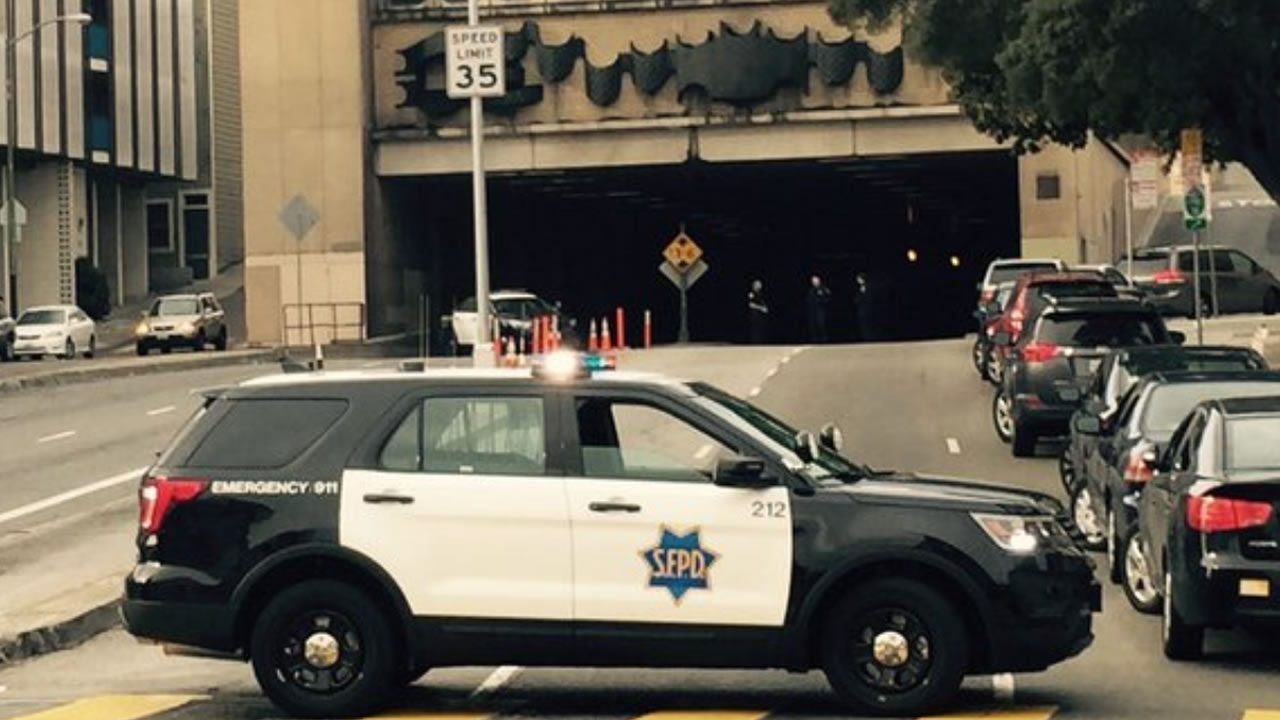 Emergency crews are investigating a suspicious package at the Broadway Tunnel in San Francisco on Saturday, December 5, 2015.