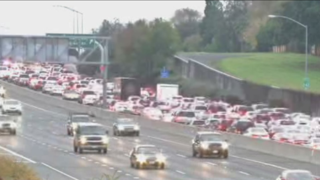 All southbound lanes of Highway 242 in Concord, Calif., were shutdown following a shooting on Saturday, Dec. 5, 2015.