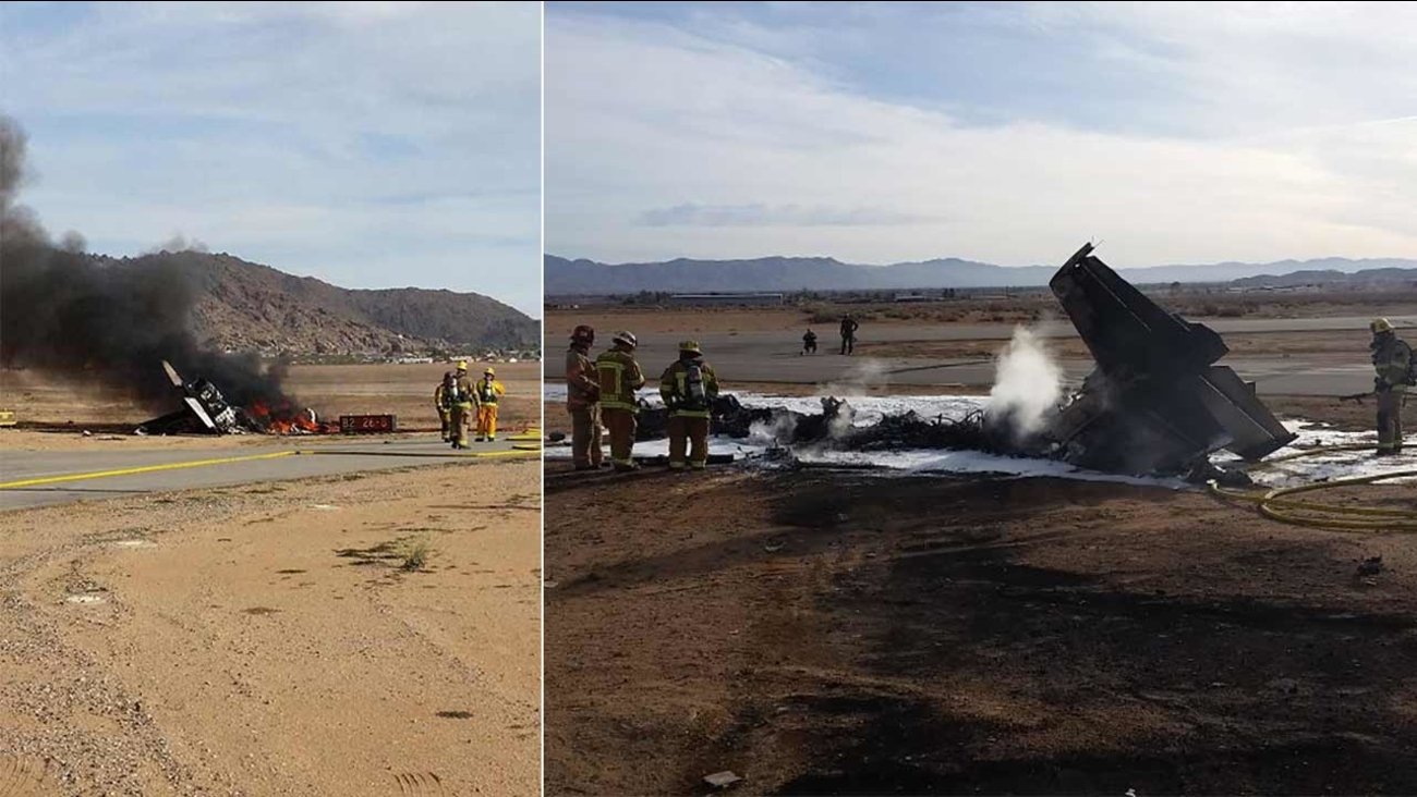 Apple Valley firefighters respond to a fatal plane crash at Apple Valley Airport on Sunday, Dec. 6, 2015.