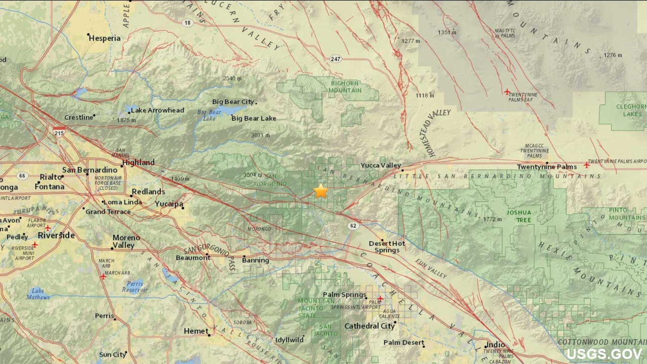 A U.S. Geological Survey map shows the location of a small earthquake that struck near Morongo Valley on Monday, Dec. 7, 2015.