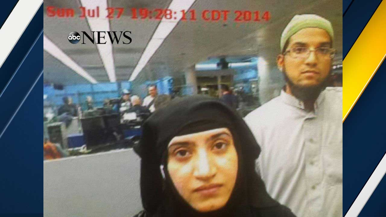 Photo obtained by ABC News shows Tashfeen Malik, center, and Syed Rizwan Farook, right, going through Chicago's O'Hare International Airport on July 27, 2014.