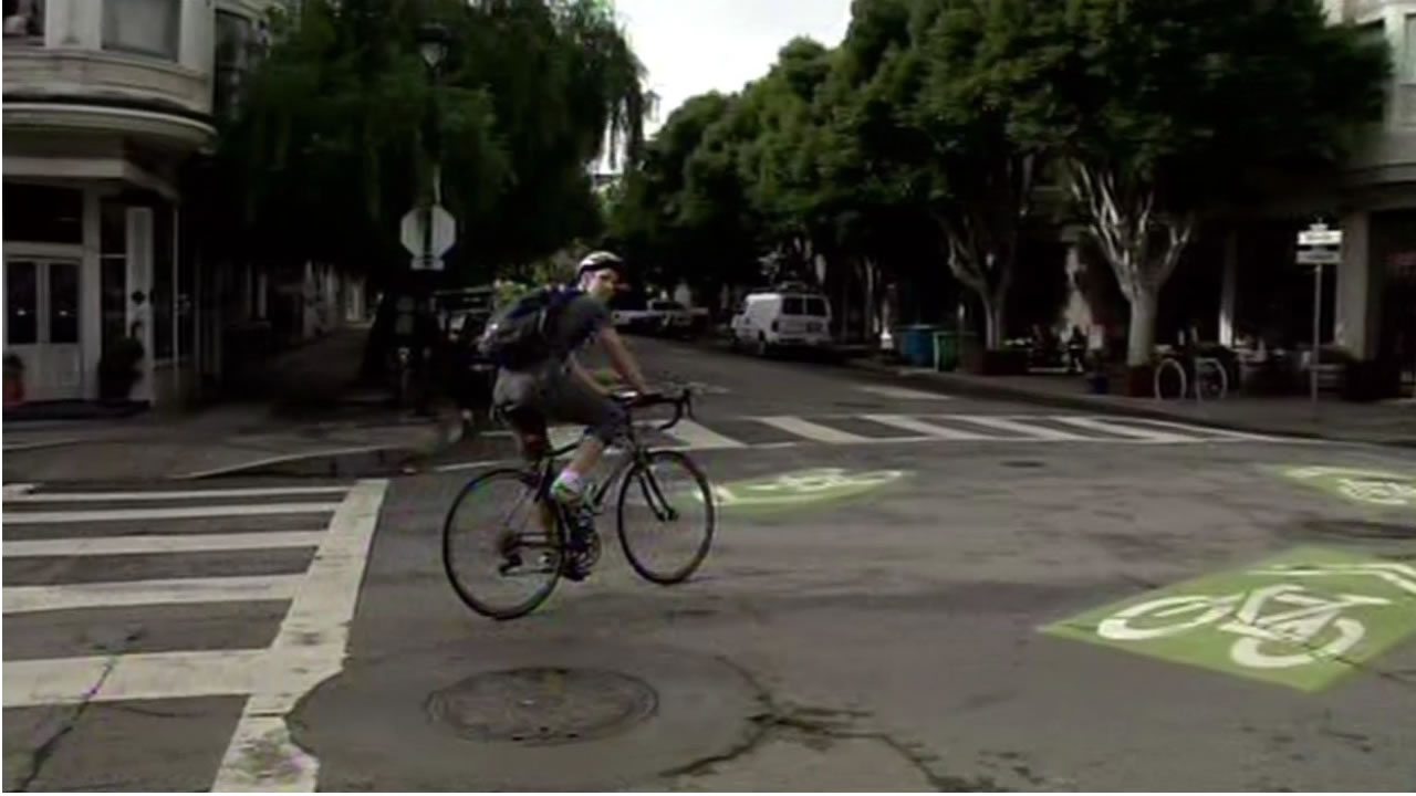 "This undated image shows a bicyclists riding along the ""Wiggle"" bike route in San Francisco's Lower Haight neighborhood."