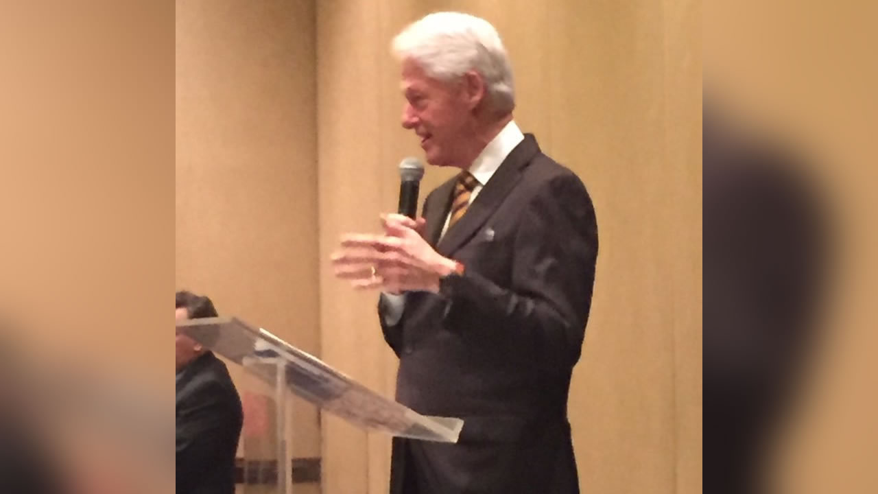 Former President Bill Clinton stumps for his wife in Durham.
