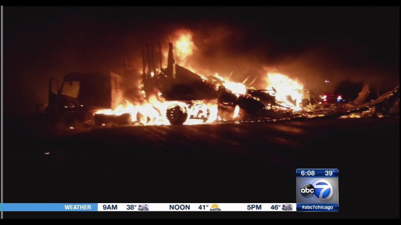 A truck fire closed all lanes of westbound I-80/94 between Broadway and Burr early Tuesday morning.