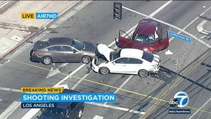 洛杉矶南部枪击案受害者开车过了几个街区后, 发生三车相撞事故后死亡