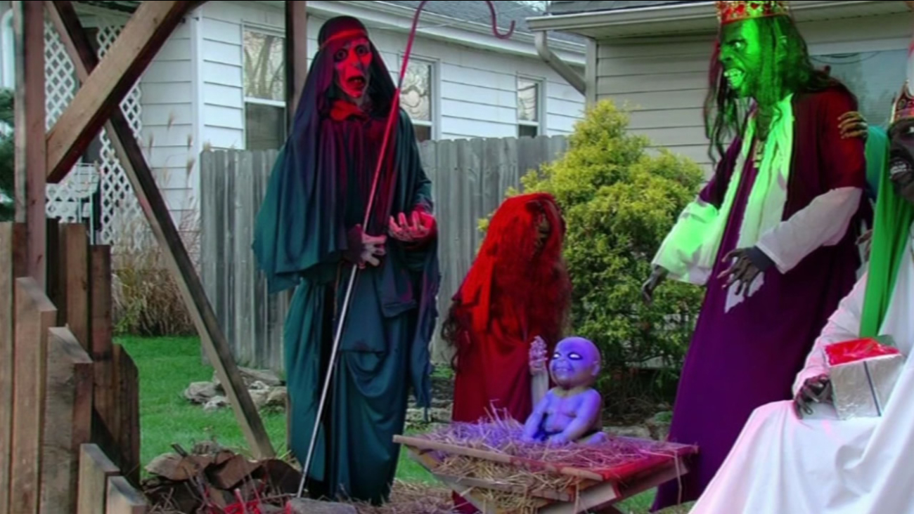 This undated image shows the zombie-themed nativity scene in Ohio homeowner Jasen Dixon's  front yard.