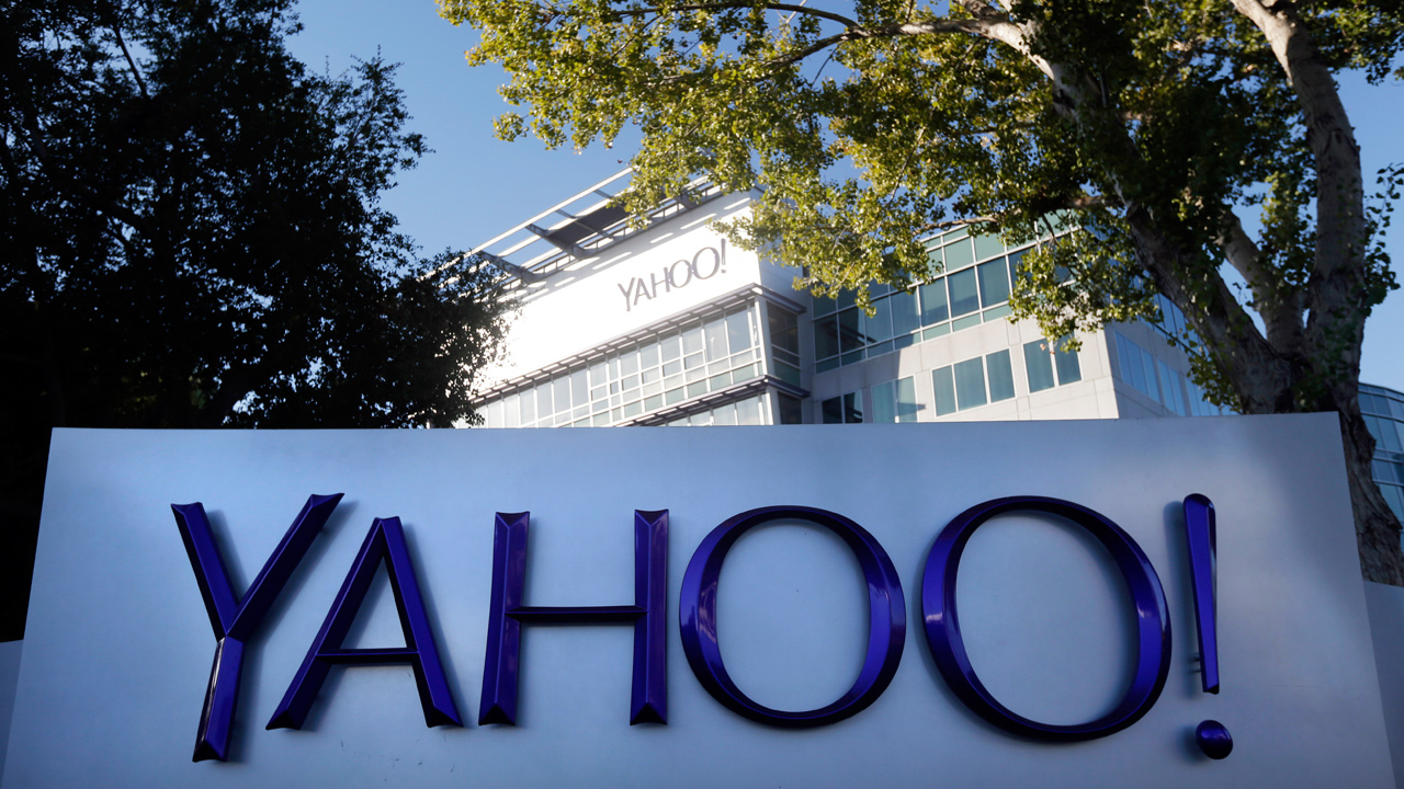 This Nov. 5, 2014 photo shows signage outside Yahoo's headquarters in Sunnyvale, Calif.