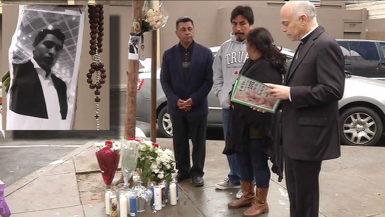 In this image Archbishop Salvatore Cordileone is seen holding a prayer vigil on Wednesday, December 9, 2015 for a man who was fatally shot in San Francisco, Calif.