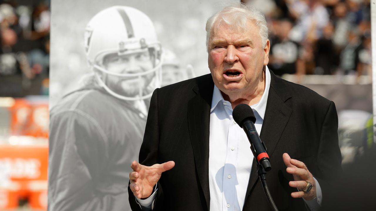 Former Oakland Raiders head coach John Madden speaks at NFL game in Oakland, Calif., Sunday, Sept. 13, 2015.