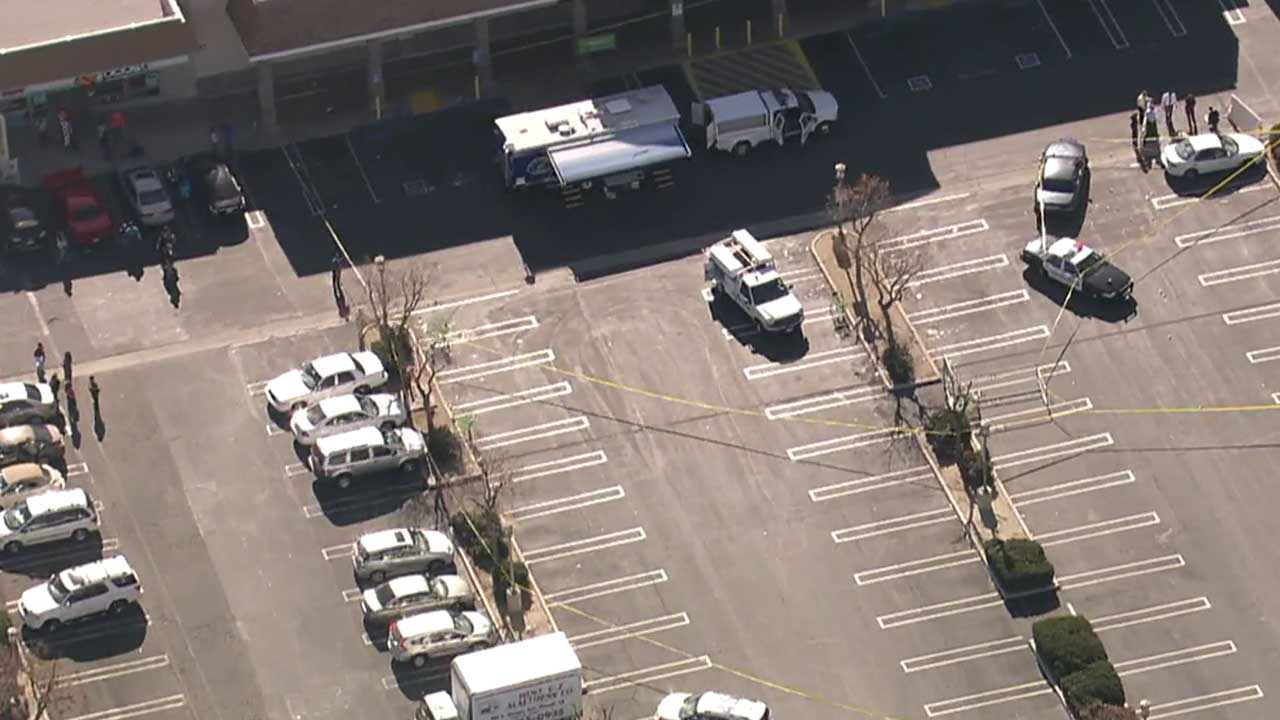 A male suspect was shot and killed by Hemet police in the parking lot of a strip mall in the 200 block of E. Stetson Avenue on Thursday, Dec. 10, 2015.