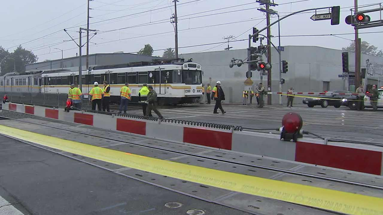 A man was struck and killed by a Metro Blue Line train near 41st Street, north of the Vernon Station, in Los Angeles on Thursday, Dec. 10, 2015.