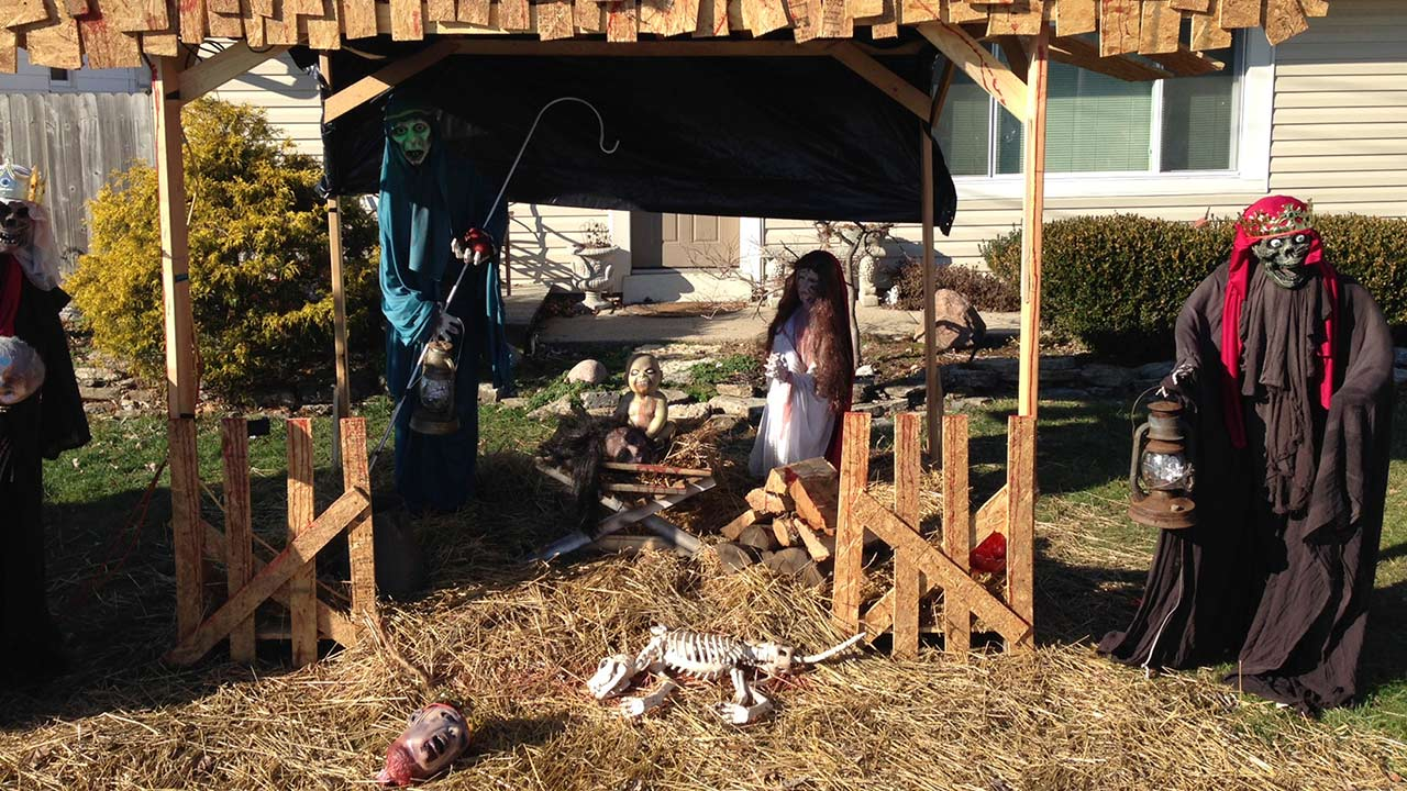 "A ""Zombie Nativity"" scene stands on the front yard of Jasen Dixon's home in Sycamore Township, Ohio, near Cincinnati, Tuesday, Dec. 30, 2014."